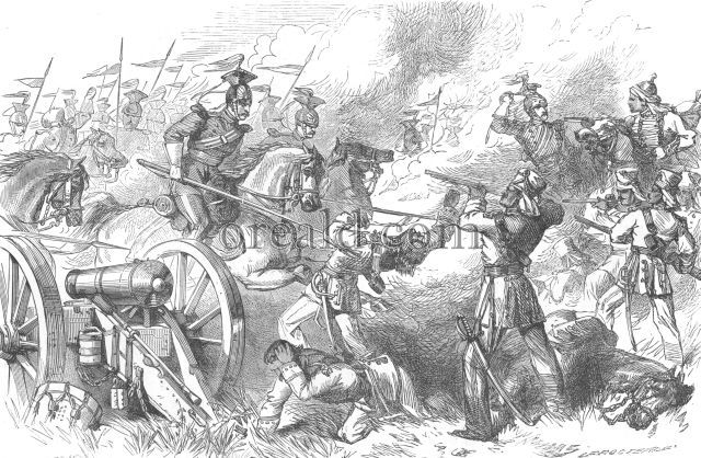 Capture of rebel guns by the cavalry of British brigade