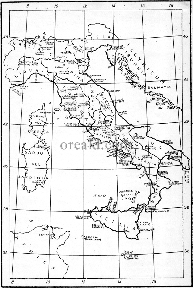 Map. Ancient Italy.