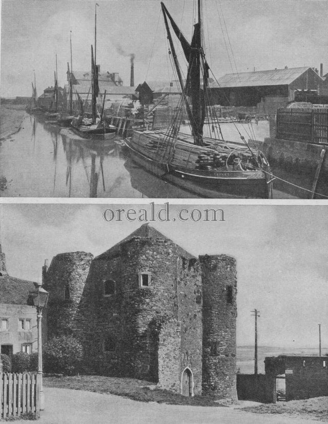 YPRES TOWER, RYE: THAMES BARGES LOADING TIMBER IN FAVERSHAM CREEK