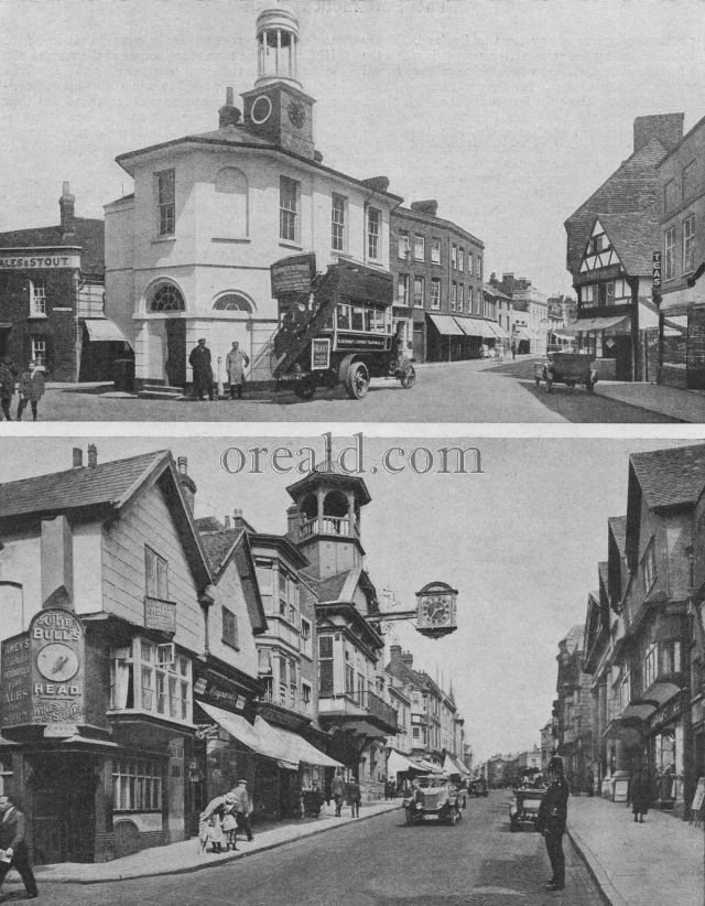 GUILDFORD TOWN HALL AND THE WHITE MARKET HOUSE OF GODALMING