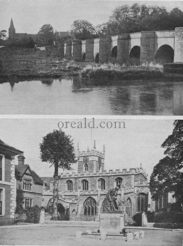 HUNTINGDON'S OLD CHURCH AND THE NORTH ROAD CROSSING THE RIVER NENE