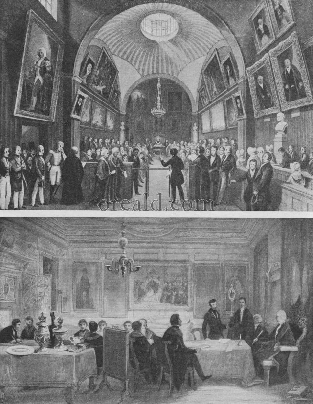 BARBER-SURGEONS ADMITTING A MEMBER: PRESENTING A PETITION AT THE GUILDHALL, LONDON