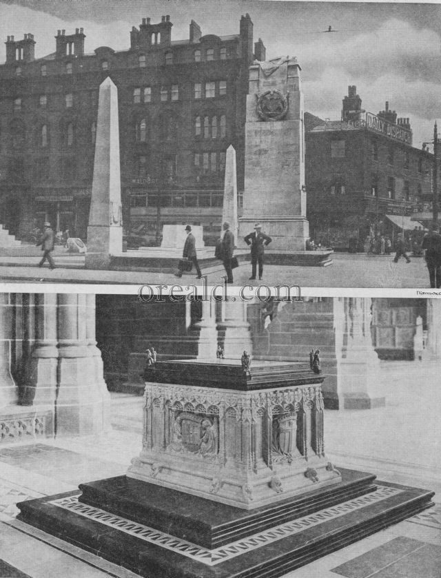 A LIVERPOOL MEMORIAL, AND MANCHESTER'S FINE PYLON IN S. PETER'S SQUARE