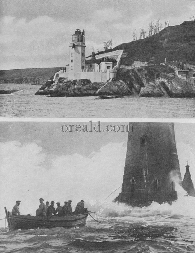 Wolf Rock lighthouse, and St. Anthonys Head, Falmouth