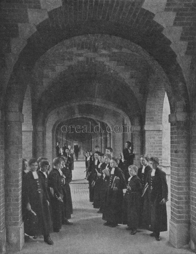 Blue Coat Boys in the Cloisters of Christs Hospital, West Horsham